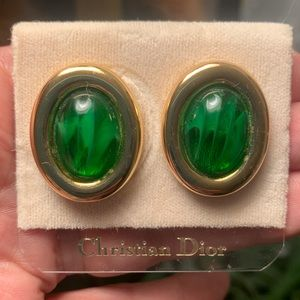Christian DIOR green marbled art glass clip ons